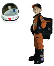 Astronaut Costume, Orange/Black Space Suit, Back Pack, Gloves & Boots, *Includes White Helmet