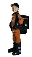 Astronaut Costume, Orange/Black Space Suit, Back Pack, Gloves & Boots
