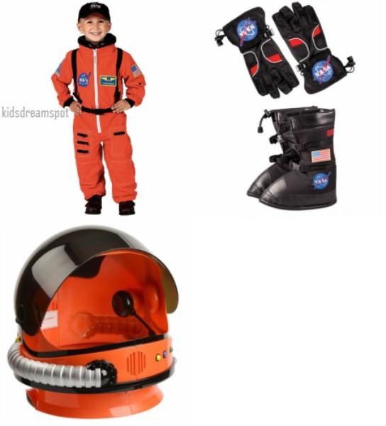 Astronaut Costume Complete Orange/Black, Suit, Helmet, Boots, Gloves Combo Set