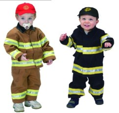 Toddler Fire Fighter Costume 18 month Black or Tan