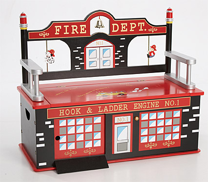 Firefighter Toy Box Bench Dress Up Storage Boy Room