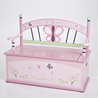CoCaLo Baby Sugar Plum Toy Box Bench Dress Up Storage Girl Room